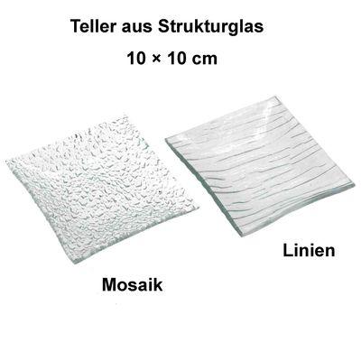 Glasteller 10cm Glasschale Struktur Glas Untersetzer Linien Mosaik Kerzen Teller