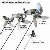 Windrad Edelstahl Gartenstecker Windspiel Garten Terrasse Deko Windmühle Luftrad