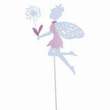 Stecker Elfe Fee weiß rosa Pusteblumen L66cm Metall Garten Deko Pick Stab