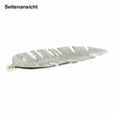 Dekoschale Blatt Metall 35×11cm silber nickel Alu Schale Teller Tablett Tropen