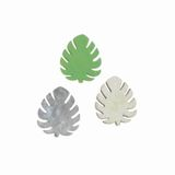 60 Blätter Tropen 3x2,5cm Holz Streuteile grün grau natur Leaves Monstera Blatt