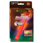 "10 MaxiPower Glow Sticks RED (150x15mm) Test Score: 1,4 ""VERY GOOD"", Complete Set incl. 10 Safety Cords & Special Double Hook, Factory-Fresh Premium Professional Quality Goods"