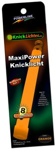 1 MaxiPower Glow Stick ORANGE (150x15mm), Complete Set