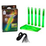 "10 MaxiPower Glow Sticks GREEN (150x15mm) Test Score: 1,4 ""VERY GOOD"", Complete Set incl. 10 Safety Cords & Special Double Hook, Factory-Fresh Premium Professional Quality Goods"