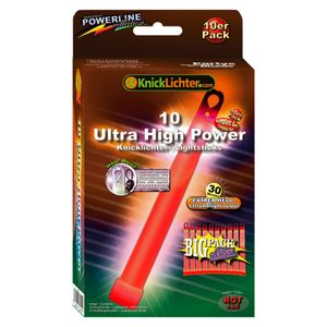 10 Ultra High Power Knicklichter ROT bis 45 Min extrem intensiv (150x15mm)