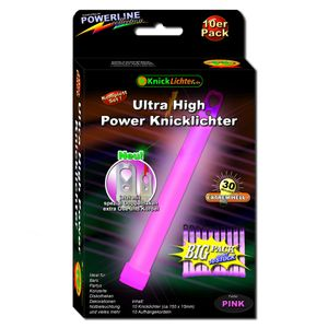 10 UltraHighPower Emergency Glow Sticks PINK, up to 45min. Extremely Bright, incl. Accessories (150x15mm)