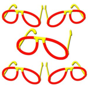 "5x Glow Stick Pilot Glasses RED, Test Score: 1,4 ""VERY GOOD"", Complete Set, Factory-Fresh Premium Professional Quality Goods"