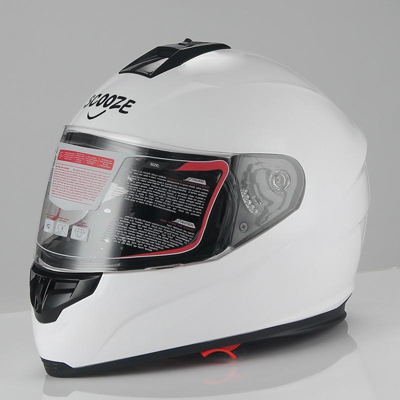 "SCOOZE Helm/Integralhelm ""Dual Visier"" SZ-FF007 Glanz-Weiß Gr. L"
