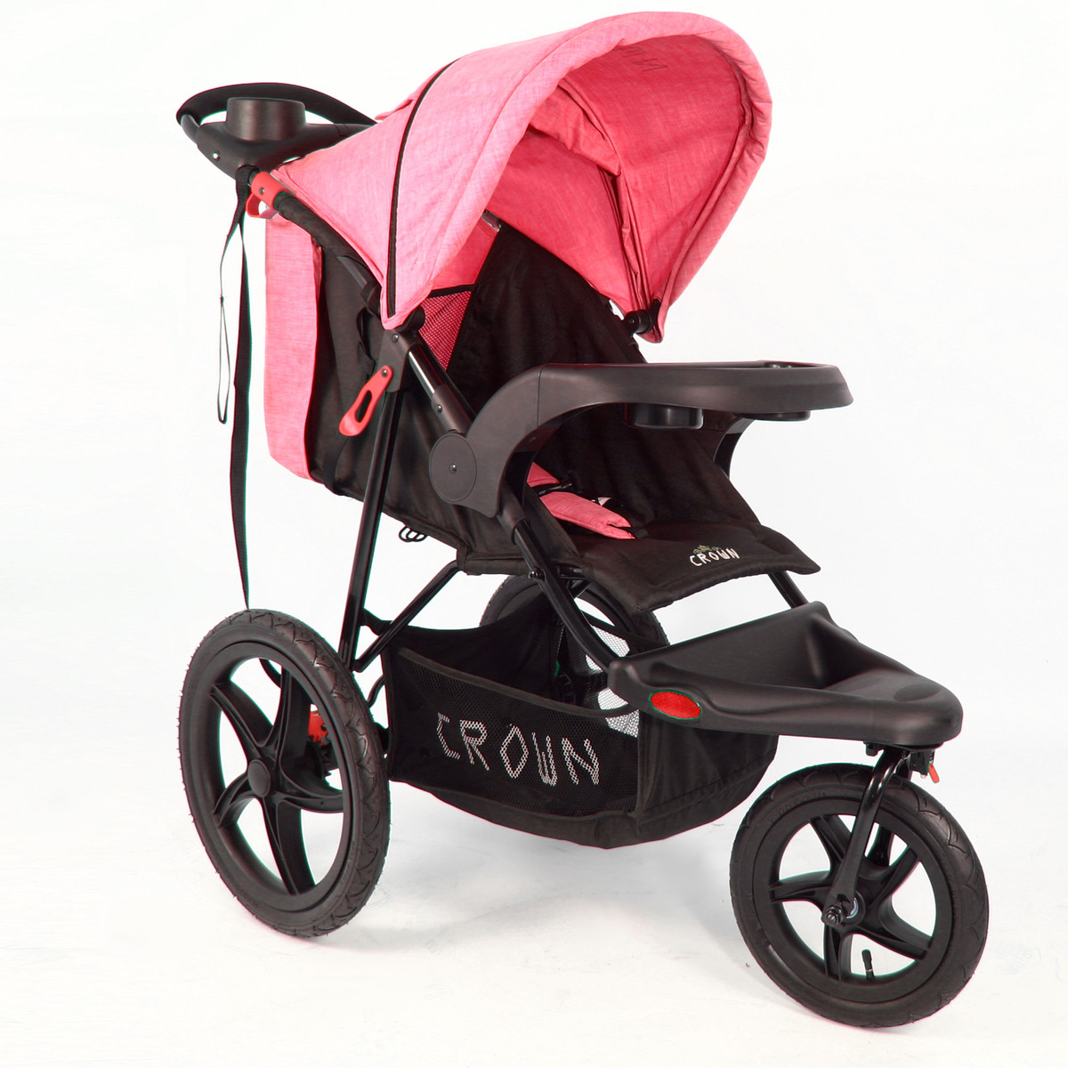 ST920 CROWN Deluxe SportWagen Travel Kinderwagen JOGGER Black-Pink