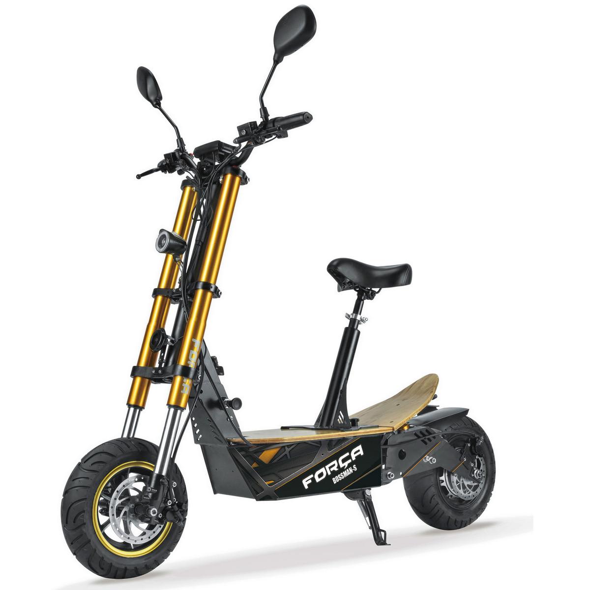 FORÇA Bossman-S II Elektro-Scooter mit 15Ah Bleigel-Akku 48 V 1500 W Straßenzulassung EEC 45km/h Topspeed in Schwarz-Gold