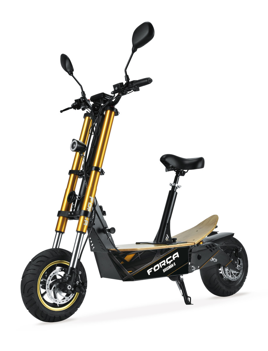 FORÇA Bossman-S II Elektro-Scooter mit 20AH Lithium-Akku 48 V 1500 W Straßenzulassung EEC 45km/h Topspeed in Schwarz-Gold