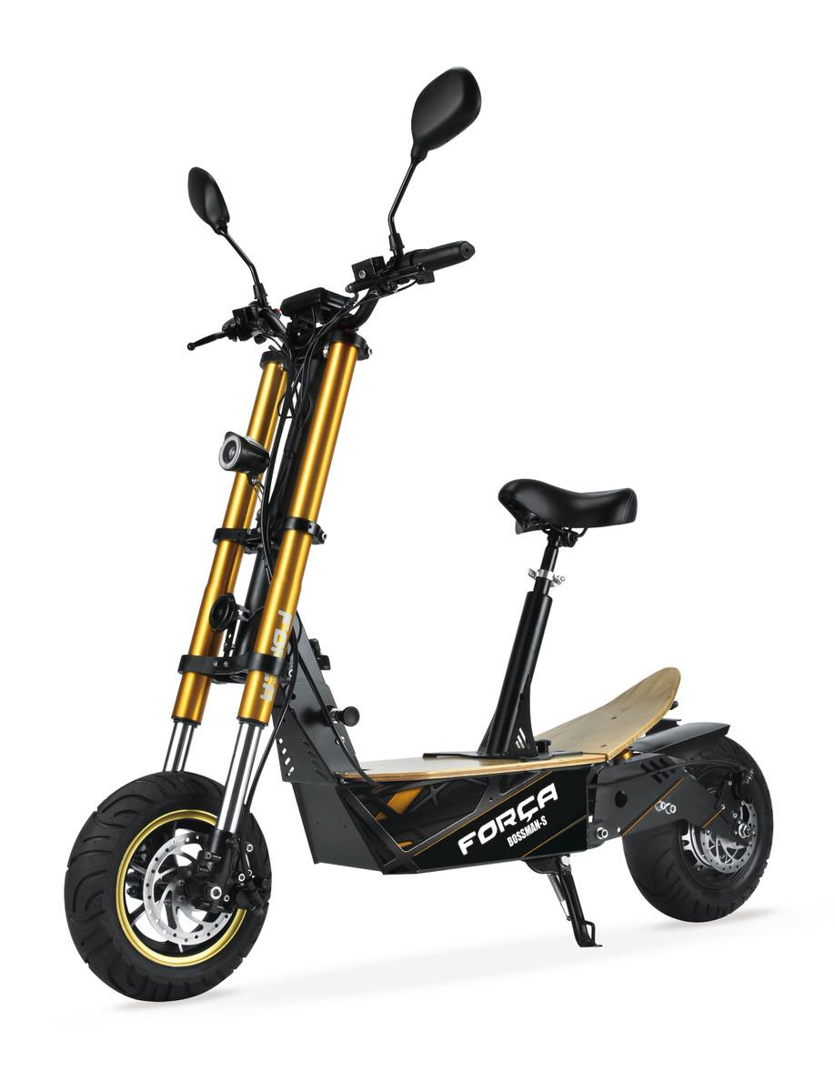 FORÇA Bossman-S II Elektro-Scooter mit 30AH Lithium-Akku 48 V 1500 W Straßenzulassung EEC 45km/h Topspeed in Schwarz-Gold