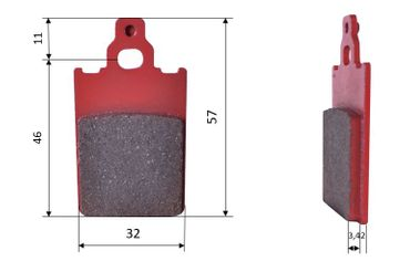 Set of brake pads (2 units), for Dino, front, (544)