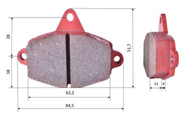 Set of brake pads (2 units), for RR, front