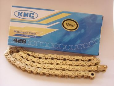 KMC chain 428 gold, ISO 9001, 64 links (=81,28cm), incl. chain lock