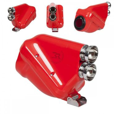 "Airbox 30mm, red/chrome, type ""ACTIVE"", homologated"