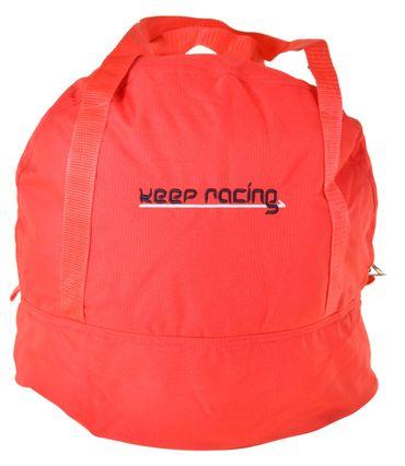 Standard Helmtasche rot, Innenfutter weiß, Reißverschluss    – Bild 1
