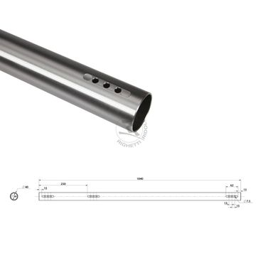 Rear axle DD2 40x1040mm thickness 3mm, medium type (B)
