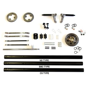 SPARE PARTS START KIT FOR KZ CHASSIS 50mm AXLE, STUB AXLE 25mm