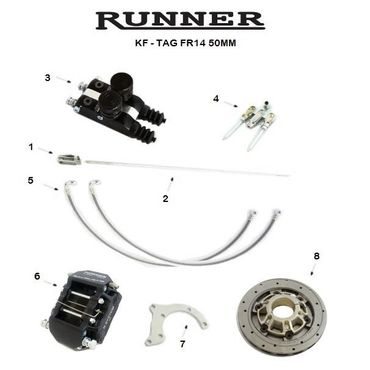 RUNNER FR14 REAR BRAKE SYSTEM, DOUBLE PUMP KF-TAG 50mm COMPLETE