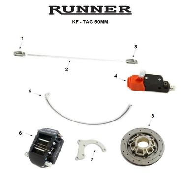 RUNNER FR14 REAR BRAKE SYSTEM SINGLE PUMP, KF-TAG, 50mm COMPLETE