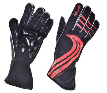GRIP ULTRA II gloves for motorsport, keep-racing®, black/red, sizes 4XS - 3XL