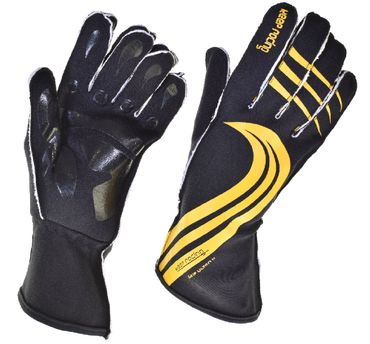 GRIP ULTRA II gloves for motorsport, keep-racing®, black/yellow, sizes 4XS - 3XL