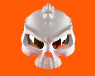 Monster helmet, Mototorbike helmet, Jet helmet, white – Bild 2