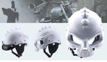 Monster Helm, Motorradhelm, Jethelm,weiß