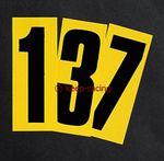 Startnummer 4, schwarz auf gelbem Hintergrund, selbstklebend 001