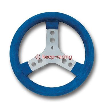 steering wheel covered with chamois leather, blue colour
