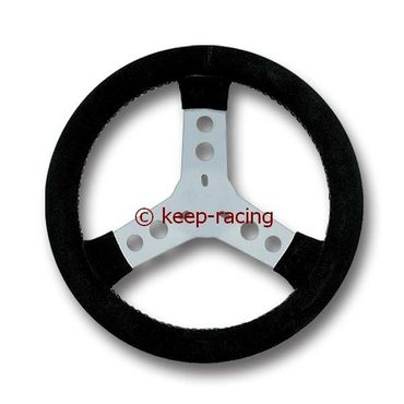 steering wheel covered with chamois leather, black colour