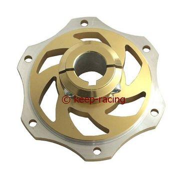 Bremsscheibenaufnahme, Aluminium, für 25mm Achse, gold eloxiert