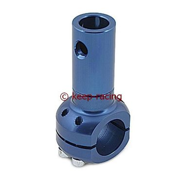 aluminium clamp d.28mm support blue anodized