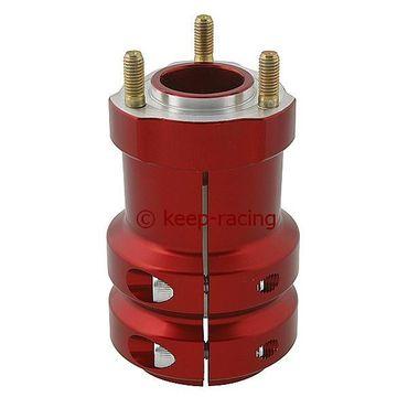 Radstern, Alu, rot eloxiert, für 50mm Achse, 115mm lang