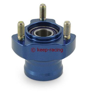 l.50mm aluminium front hub, blue anodized complete with bearings