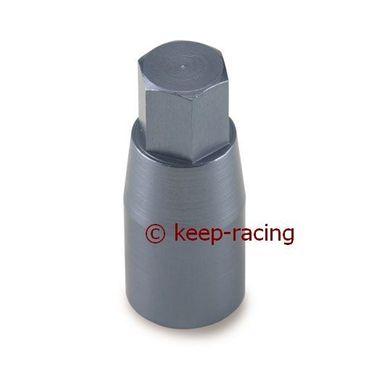cylindrical nut m8, exagone 10mm, in aluminium anodized titanium