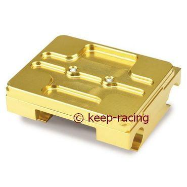Motorbock, flach, 28/92mm, komplett mit Klammern, gold eloxiert