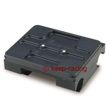 Motorbock, flach, 28/92mm, komplett mit Klammern, schwarz eloxiert