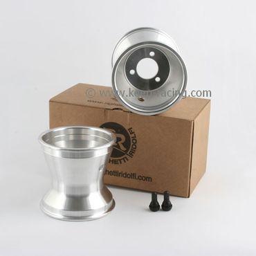 """Set of 5""""  wheels, aluminium, width 125mm, hole spacing 58mm"""