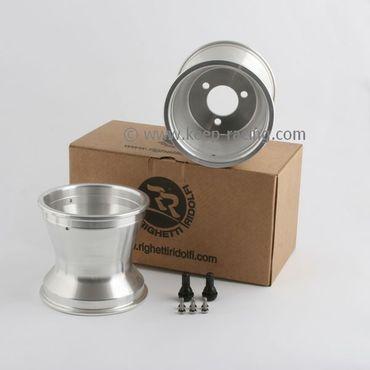 "Set of 5""  wheels, aluminium, safety screws, width 125mm, hole spacing 58mm"