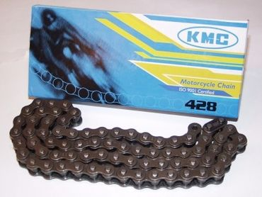 KMC chain 428 black, ISO 9001, 56 links (=71,12cm), incl. chain lock