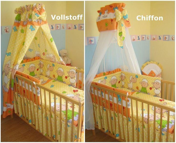 7tlg.Baby Bettwäsche 120x90 Himmel Set Nestchen Babyhörnchen Schäfchen Gelb