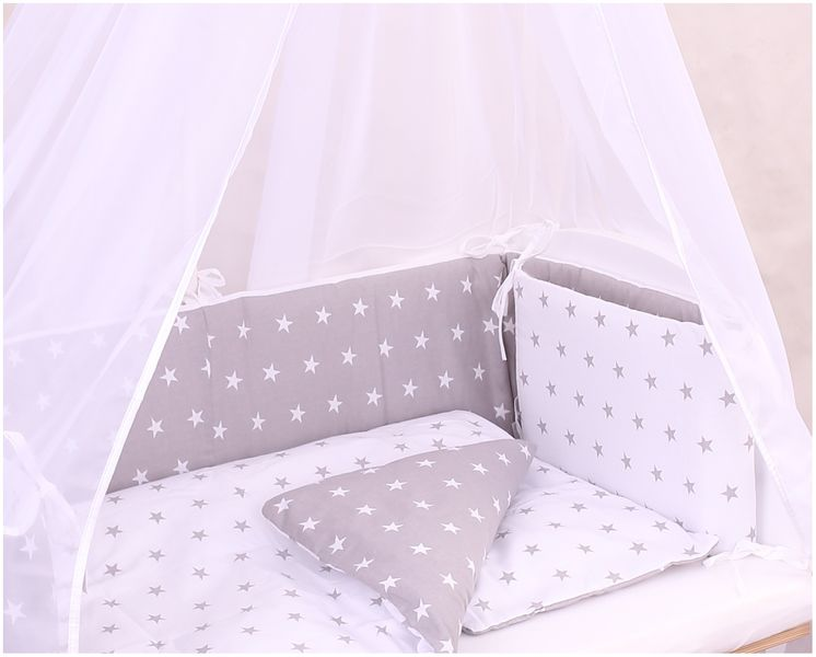 baby bettw sche stars grey f r beistellbett wiege coronio babyzimmer kinderzimmer. Black Bedroom Furniture Sets. Home Design Ideas