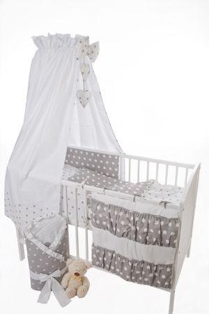 Babybett 120x60 Weiss mit Bettset Stars Dots Grey | Coronio  – Bild 1