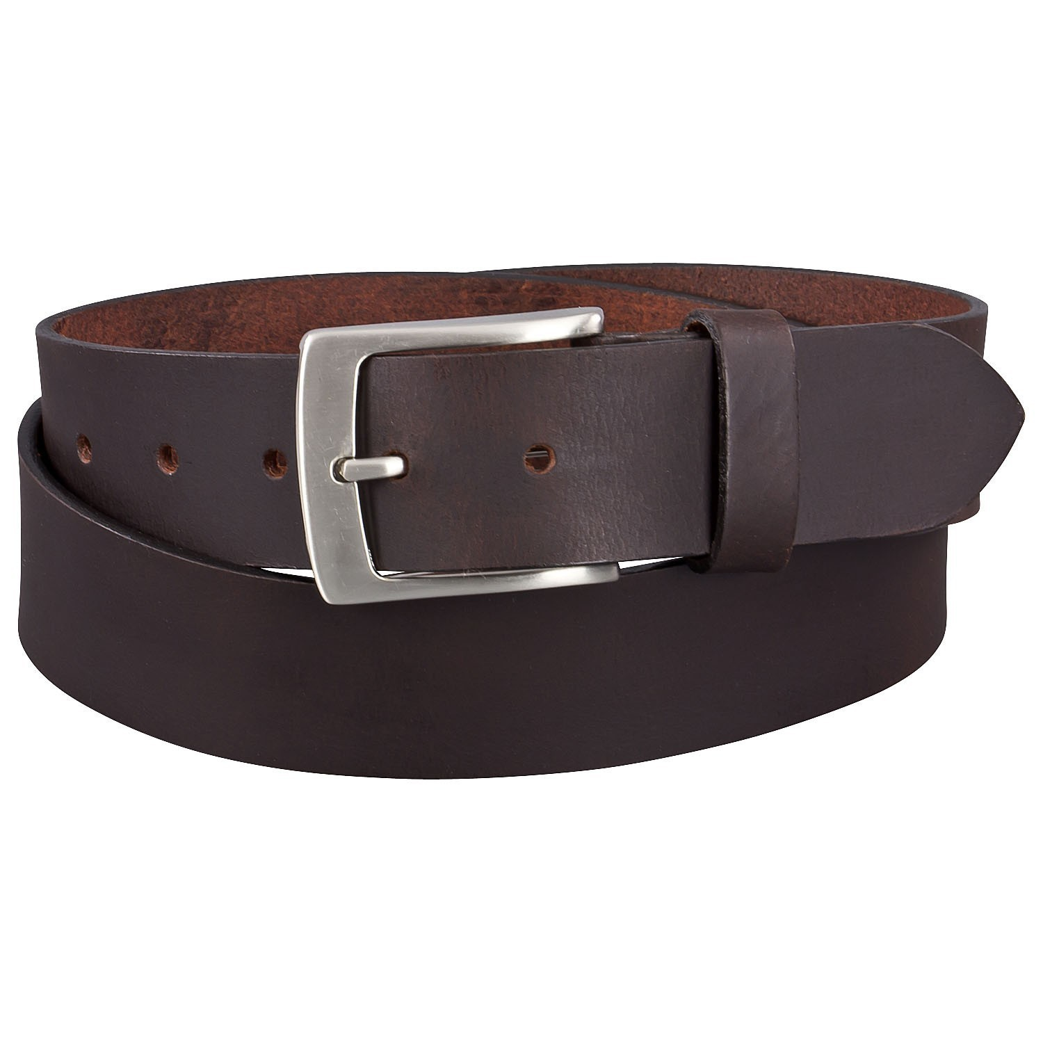 Detail Image to Brown basic jeans belt up to over length 170 cm (66.9 inches) by Lindenmann