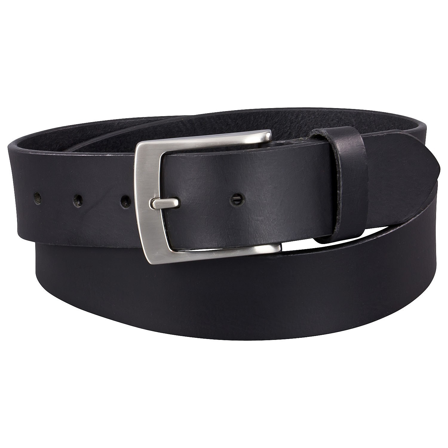 Detail Image to Black basic jeans belt up to over length 170 cm (66.9 inches) by Lindenmann