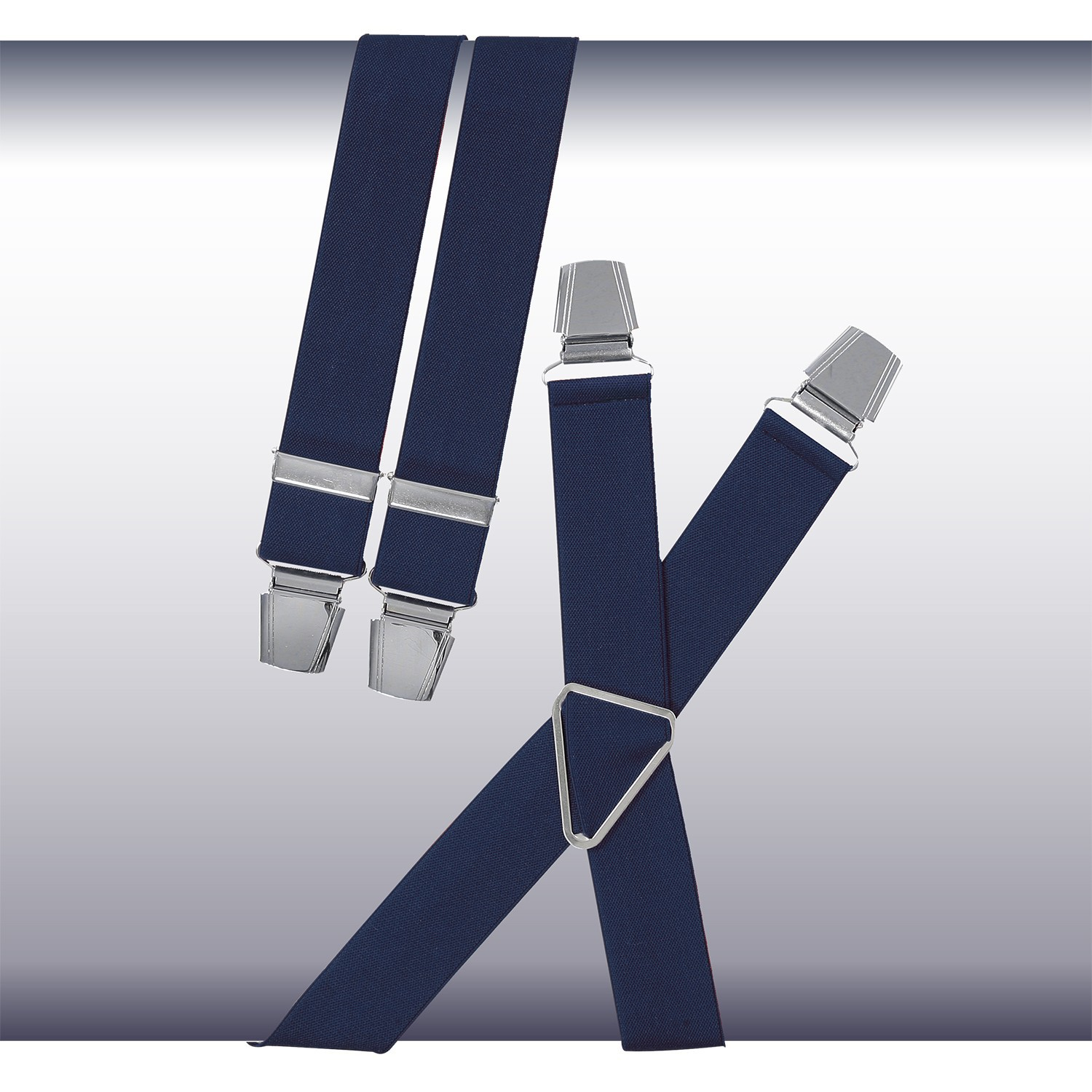 Detail Image to Blue braces with reinforced clips and extra wide straps in oversizes by Lindenmann