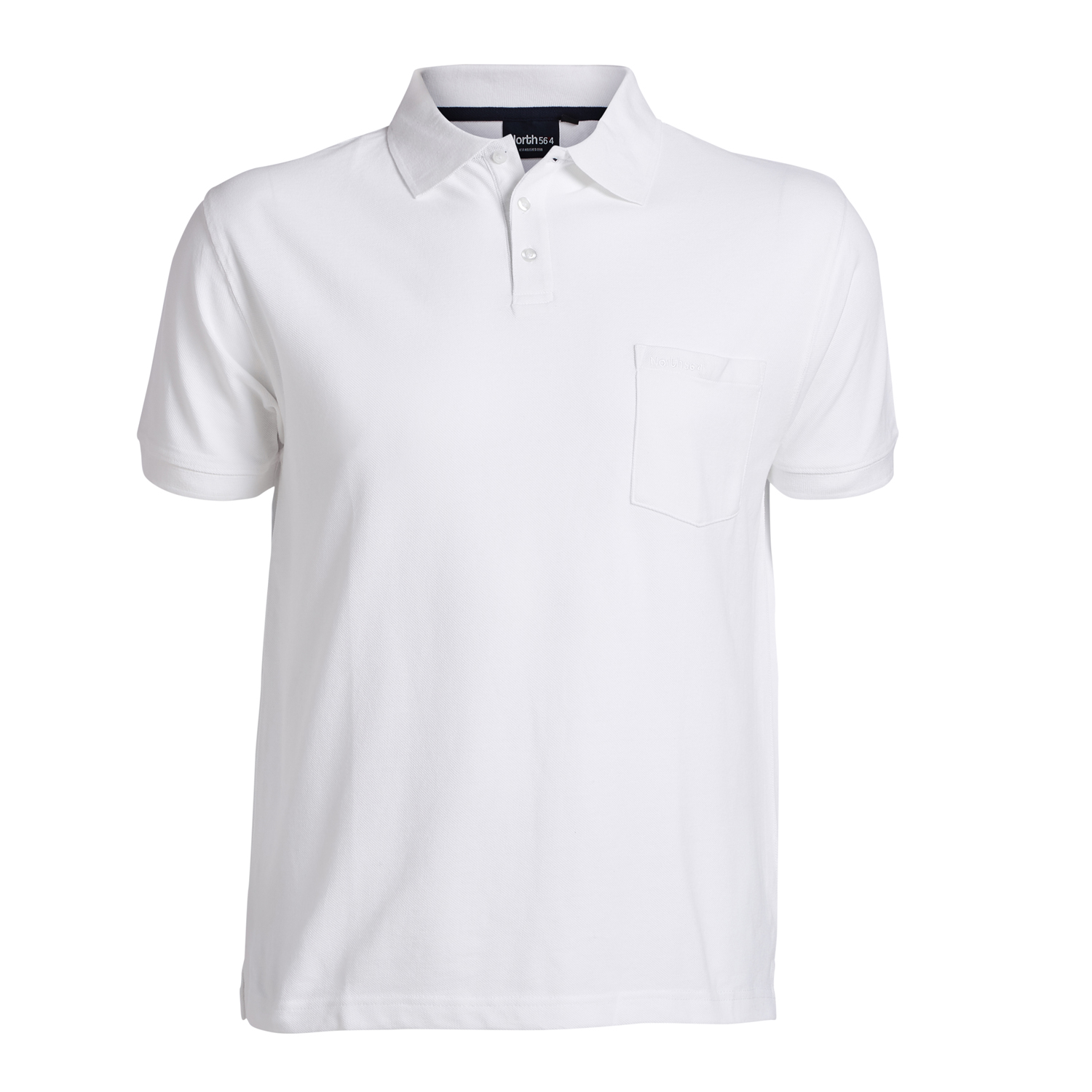 Detail Image to Pique poloshirt in white by Greyes/North 56°4 in extra large sizes up to 8XL
