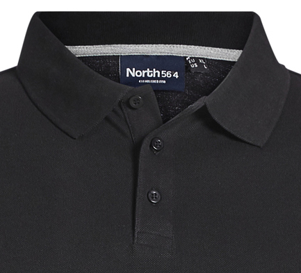 Detail Image to Poloshirt in black by Greyes/North 56°4 in oversizes until 8XL